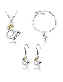Free Yellow Set-Dolphin Alloy Crystal Sets