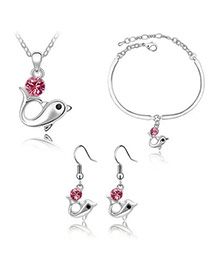 Floating Plum Red Set-Dolphin Alloy Crystal Sets