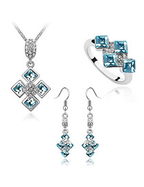 American Sea Blue Set-Sweet Square Alloy Crystal Sets