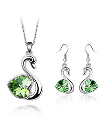 Square Olive Set-Swan Alloy Crystal Sets