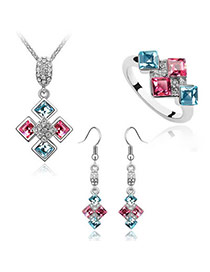 Ladies Plum Red+Sea Blue Set-Sweet Square Alloy Crystal Sets