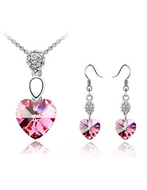 Costume Plum Red Set-Heartbeat Alloy Crystal Sets