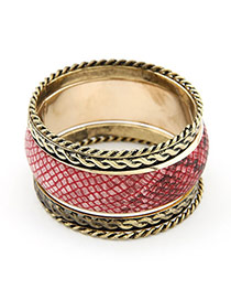 Upper Claret-Red Multilayer Alloy Fashion Bangles