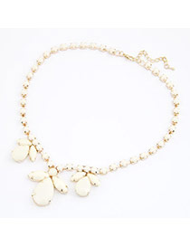 Hiphop Beige Decorated With Bead Charm Design Alloy Korean Necklaces