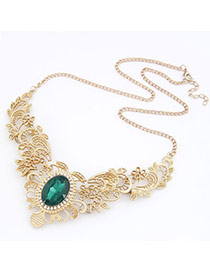 Outlook Green Hollow Our Decorated With Bead Alloy Korean Necklaces