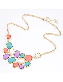 Online Multicolour Geometry Square Pendant Alloy Korean Necklaces