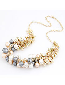 Masonic Gold Color Sweet Imitate Pearl Alloy Korean Necklaces