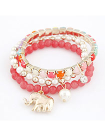 Traditiona Pink Cute Elephant Pendant Bead Korean Fashion Bracelet