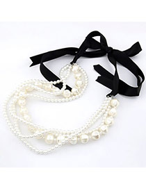 Recycled White Bow Tie Imitate Pearl Pearl Bib Necklaces