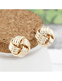 Everlas Beige Gemstone Decorated Waterdrop Shape Design Alloy Stud Earrings