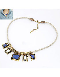 Traditiona Blue Weave Chain Alloy Korean Necklaces