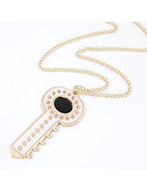Monarch White Rivet Key Shape Alloy Korean Necklaces