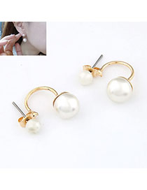 Magnifying White Sweet Bow Tie Imitate Pearl Alloy Stud Earrings