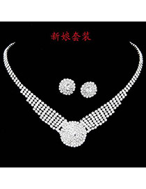 Extravagant Red Diamond Decorated Square Shape Design Alloy Jewelry Sets