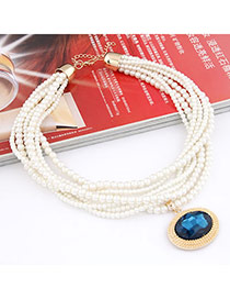 Mechanical dark Blue Imitate Pearl Multilayer Design Alloy Beaded Necklaces