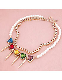 Stainless White Rivet Double Layer Chain Alloy Korean Necklaces