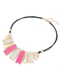 Plated Plum Red Vertical Bar Pendant Alloy Bib Necklaces