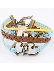 Fashion Brown Heart To Heart Design Alloy Korean Fashion Bracelet