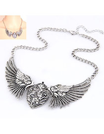 Fashion Antique Silver Wings Of Love Alloy Korean Necklaces