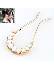 Fashion Coffee Oval Shape Diamond Decorated Hairpin