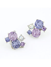 2012 Purple Simple Design Zircon Stud Earrings