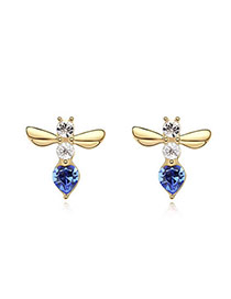 Buckle Blue+Champagne Blue Earrings Alloy Crystal Earrings