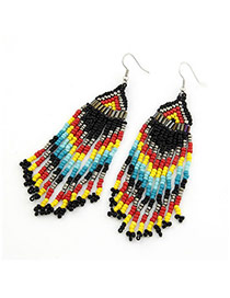 Fashion Multicolour Bohemia Style Handmade Bead Tassels Alloy Korean Earrings