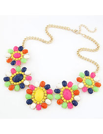 Amethyst Multicolour Flower With Beads Alloy Korean Necklaces