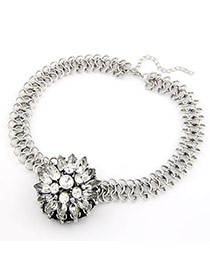 Formal Silver Color Flower Alloy Korean Necklaces