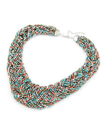 Bohemia Black Pure Color Decorated Simple Hand-woven Design Necklace
