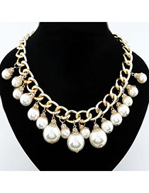 Diabetic Gold Color Pearl Pandent Alloy Korean Necklaces