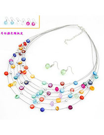Fashion Light Pink Geometric Shape Gemstone Decorated Hollow Out Jewelry Sets