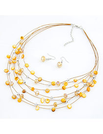 Elegant Orange Diamond Decorated Pearl Weaving Jewelry Sets