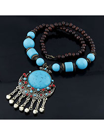 Woolrich Skyblue Gem Stone Alloy Bib Necklaces
