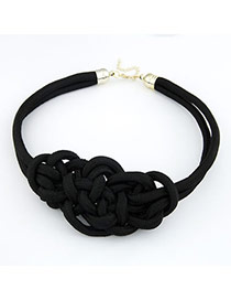 Retro Black Pure Color Design Simple Wide Choker Necklace
