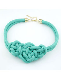 High Quali Light Green Handmade Weave Alloy Korean Necklaces
