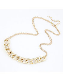 Vintage Gold Color Oval Shape Diamond Decorated Simple Short Chain Necklace