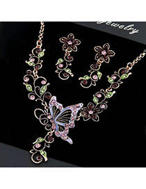Fashion Multi-color Diamond Decorated Flower Shape Simple Jewelry Set