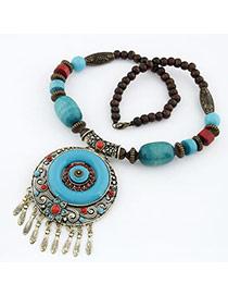 Royal Blue National Style Design Resin Bib Necklaces