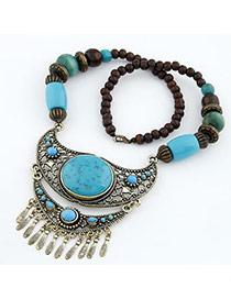 Slacks Blue Crescent Shape Design Resin Bib Necklaces
