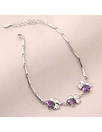Facial Purple Clover Decorated With Zircon Alloy Fashion Bracelets