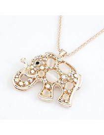 Mink Beige Lovely Elephant Pendant Imitate Opal Bib Necklaces