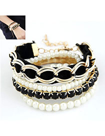 Jogging Black Elegant Multilayer Chain Design Alloy Korean Fashion Bracelet