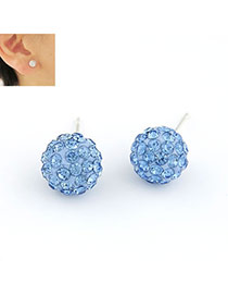 Rosary Light Blue Ball Shape Cz Diamond Stud Earrings