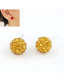 Charm Yellow Ball Shape Cz Diamond Stud Earrings