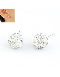 Peterbilt Multicolour Ball Shape Cz Diamond Stud Earrings