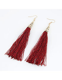 Eatable Claret-Red Elegant Tassels Design Alloy Korean Earrings