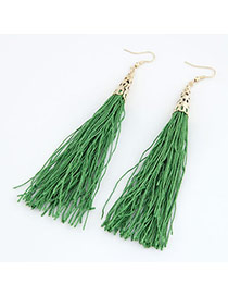 Lovable Grass Green Elegant Tassels Design Alloy Korean Earrings