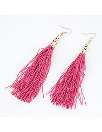 University Plum Red Elegant Tassels Design Alloy Korean Earrings
