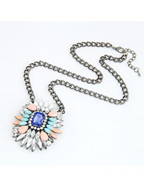 Online Blue Gemstone Decoration Rhinestone Korean Necklaces